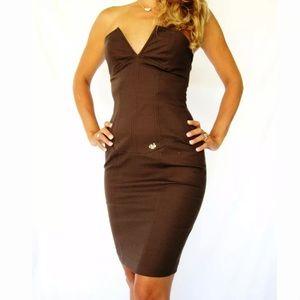 DANIELE ALESSANDRINI BROWN STRETCH CORSET DRESS  6
